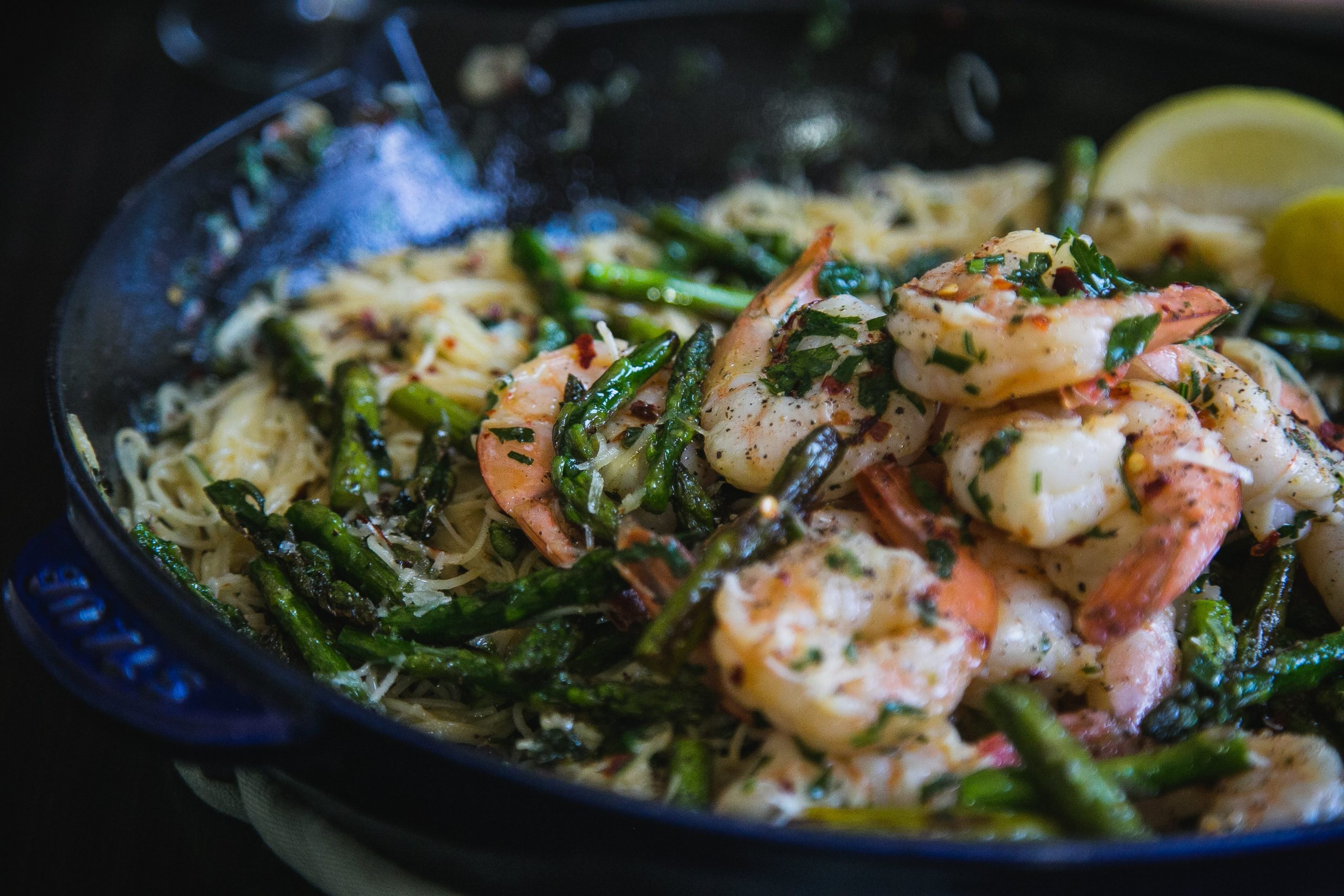 Spicy Shrimp Scampi Pasta With Asparagus The Chutney Life