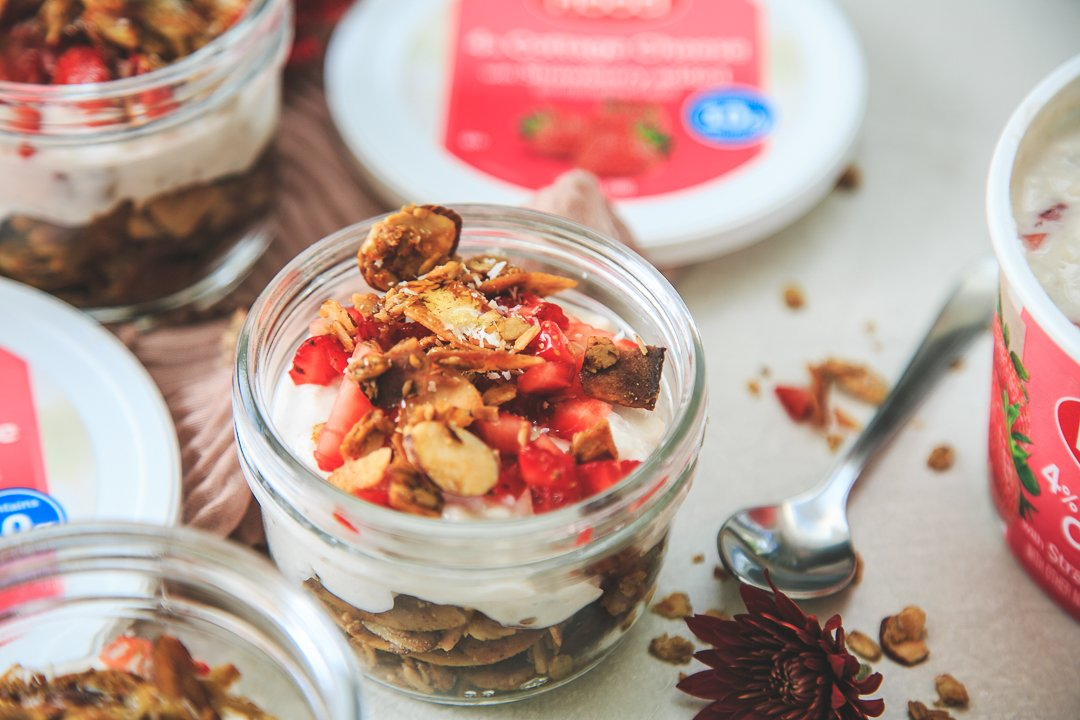 Breakfast Parfaits With Hood Cottage Cheese With Strawberry And Coconut Almond Granola