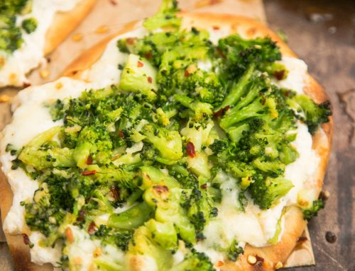 Naan Pizza with Whipped Ricotta & Spicy Broccoli