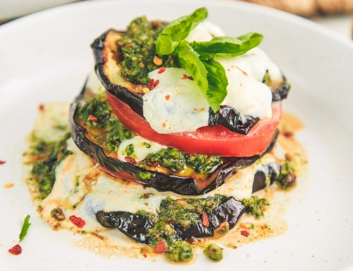 Grilled Eggplant & Mozzarella Stacks with Pistachio Basil Pesto